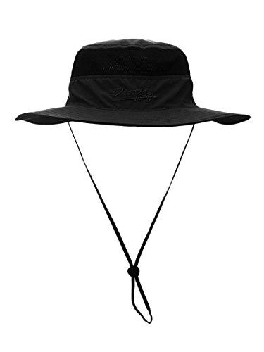 Outfly Damen Herren Outdoor Bucket Hut Fischer Hut Buschhut Atmungsaktiv Schnelltrocknend Sonnenschutz - für Kopfumfang 55-60 cm Schwarz Schwarze Outdoor Hut