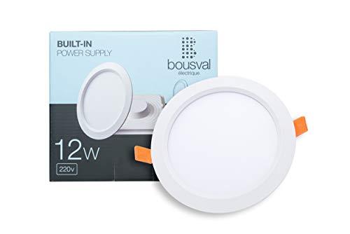 170 Watt-solar-panel (12W LED vertiefte Panel Rund Ultraslim Neutralweiß 4500K 1200 Lumen 170x29mm Unterputz Montage vom Bousval Electrique (BE); [Energieklasse A+])