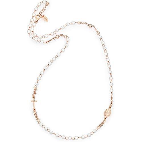 Amen Halskette in Silber 925Kollektion Spor Futbol-Farbe Rosé-Einheitsgröße Rosenkranz Halskette Perlen