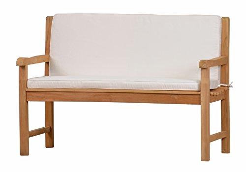 Weiße Bankauflage Kanaria mit Rückenteil - 150 x 91 cm | ✓ Bank-Polster aus 100% strapazierfähigem Polyester ✓ 6 cm dickes bequemes Bankkissen ✓ Polster-Auflage als Sitzpolster für Gartenmöbel