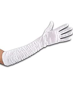 Carnival Toys 03259 encrespadas guantes de satén blanco de 50 cm sobre c/puente