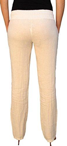 62526 PERANO Damen Leinen Hose Sommerhose Weiß