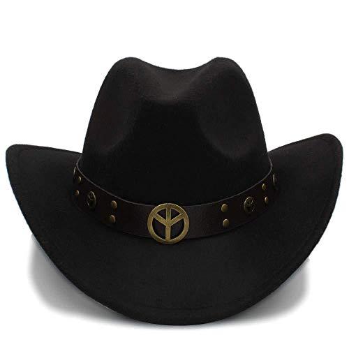 GZ Mode Winter Cowboy Wildleder Look Wild West Kostüm Damen Cowgirl Hut Roll-Up Hut Für Frauen Männer,Schwarz,56-58 ()