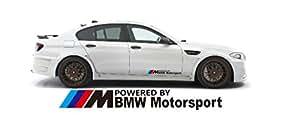 2autocollants avec l'inscription Powered by BMW Motorsport Decal 60x 7.4cm Pour M3M5M6Sport 323i 325i Pour courses de voiture