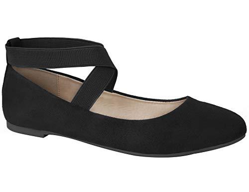 MaxMuxun Damen Geschlossene Ballerinas Flache Schuhe Schwarz Größe 40 EU (Schwarzen Frauen Flache Schuhe)