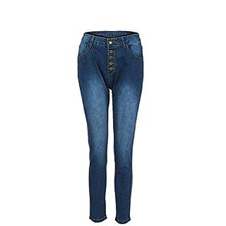 AmazingDays Ladies Summer Casual Fashion Autumn Women High Waisted Skinny Denim Stretch Slim Calf Length Hole Office Lady (L, Blue)