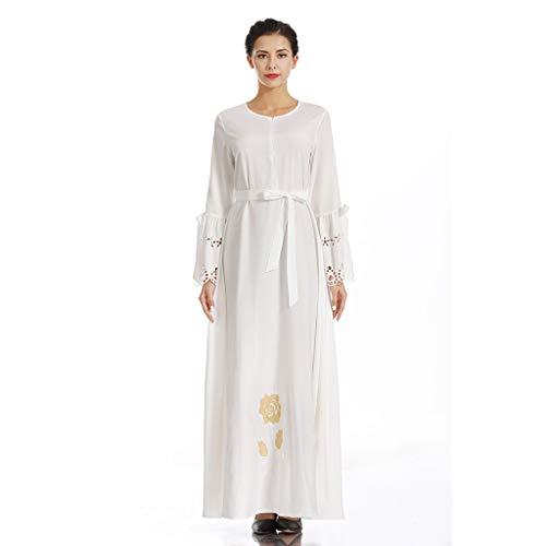 Sixcup®Muslimische Stickerei Langarm Kleid Tunika Abaya Dubai Kleider Damen Maxikleid Abendkleid Muslim Frauen Knöchellang Kleid Hochzeit Kaftan Robe Gewand Islamische Kleidung (XL, White) - White Print Kaftan
