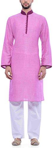 Manyavar Men's Cotton Kurta Pyjama (8903035044754_S952552-325-S_Pink)