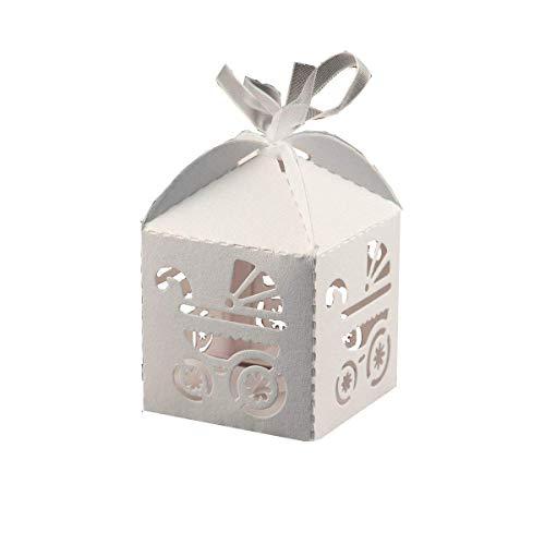 (lavinaya 50Stück Kreuz Laser geschnitten Candy Favor Box Taufe Baby Dusche Party Bonbonniere mit Bändern Gastgeschenken weiß)