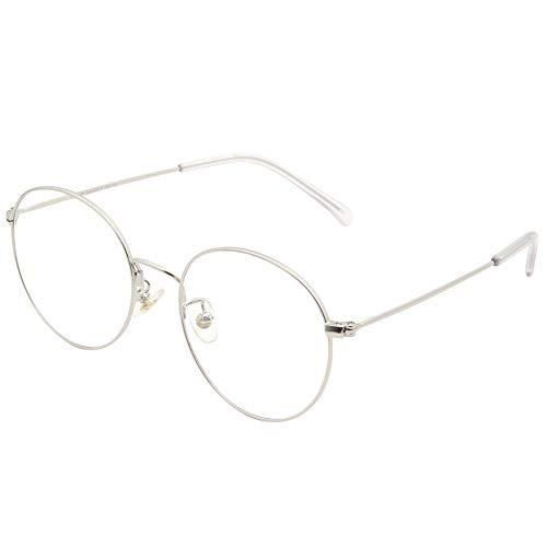 Cyxus Blocage de la lumière bleue [Lunettes anti-fatigue oculaire],Lunettes de lecture rétro à verres transparents, hommes/femmes (Argenté)