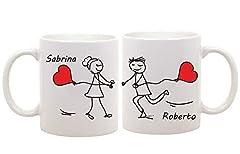 Idea Regalo - t-shirteria Coppia di Tazze Amore - Personalizzabili con Il [Nome] - Idea Regalo per l' Innamorato - San Valentino - Una Personalizzazione Unica per la Coppia