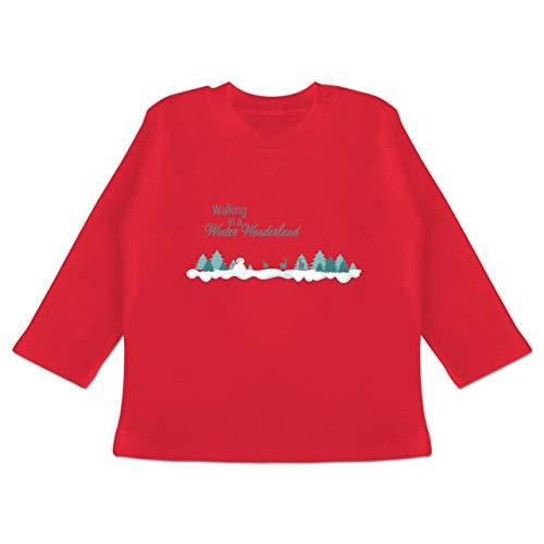 Weihnachten Baby - Walking in a Winter Wonderland Schnee - 3-6 Monate - Rot - BZ11 - Baby T-Shirt Langarm