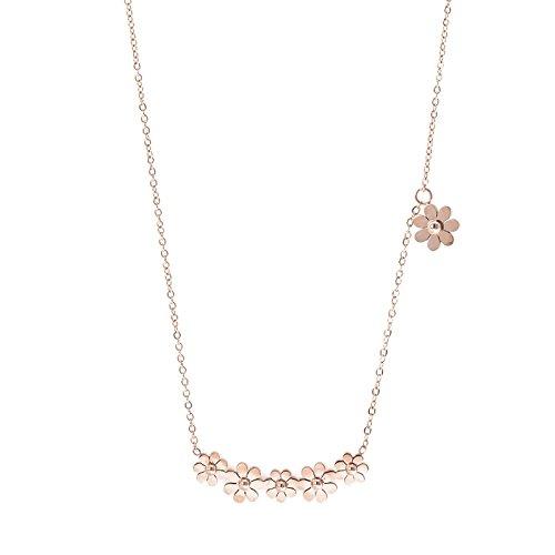 hongrun la petite daisy Necklace femelle version coréenne de la clavicule chaîne en acier titane Rose d'or Version coréenne du anniversaire de Los Alumnos de caractère minimaliste wild suspendus
