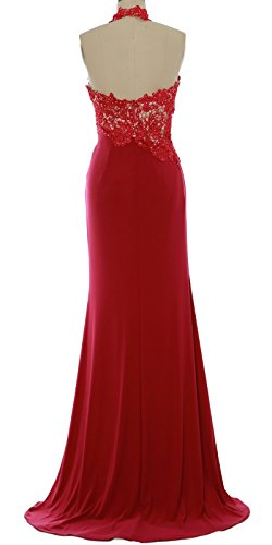MACloth Women Mermaid Halter Lace Long Formal Evening Dress Wedding Party Gown Weinrot