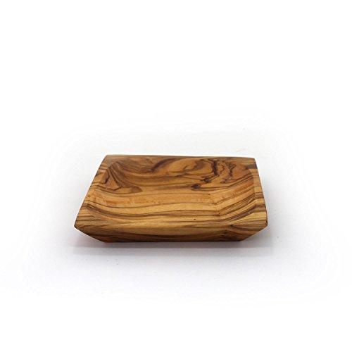 31e ooG2GAL - Schälchen aus Olivenholz viereckig 13 cm | Handarbeit | Grillzubehör | perfektes Geschenk für Grill Liebhaber