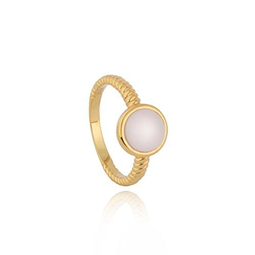 In argento sterling 925con zirconi cubici skinny impilabili moonstone anello a fascia, 9 carati placcatura oro giallo, 57 (18.1), colore: pink, cod. e1-r0-1647-ms-glp-0