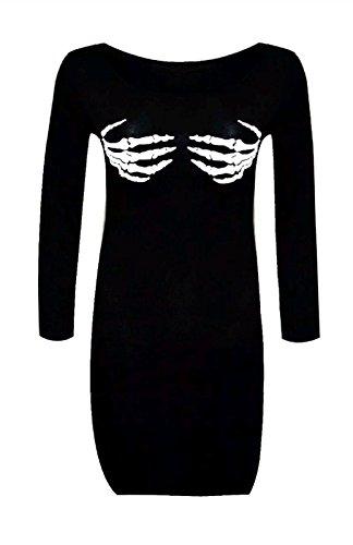 Halloween -Skelett-Hand -Druck , figurbetontes Kleid Crop Top EUR Größe 36 bis 50 (M/L (EUR 40-42), Schwarzes Kleid)