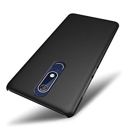 SLEO Custodia Nokia 5 2018/Nokia 5.1, Cover Nokia 5 2018/Nokia 5.1 Thin Fit, [Cover Sottile & Robusto] Rivestimento Soft-Feel, Ultra Leggero Protetto PC Duro Case per Nokia 5 2018/Nokia 5.1 - Nero