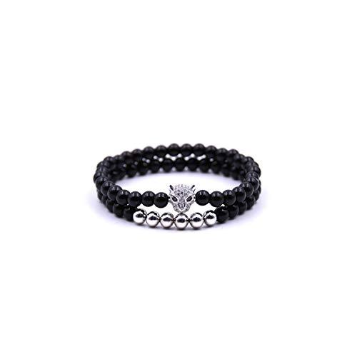 Awertaweyt Edelstein Perlen Armband Chakra Bracelet Black Bead Gold Silver Leop Animal Bracelet Natural Stone Handmade Men Women Charms Jewelry B309Silver Set