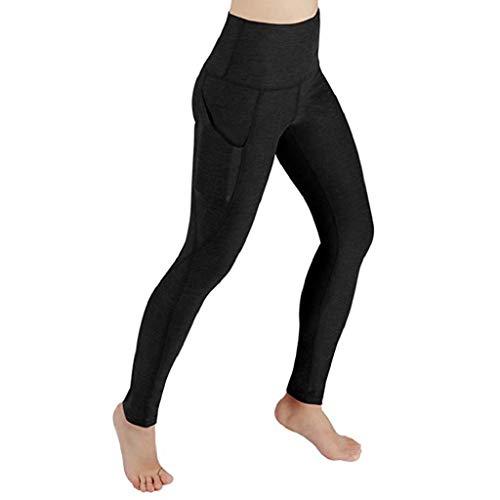 VJGOAL Sporthosen für Damen High Waist Yoga Pants Sport Workout Leggings Solid Fitness Training Gym Stretch Running Gamaschen(Schwarz,S)