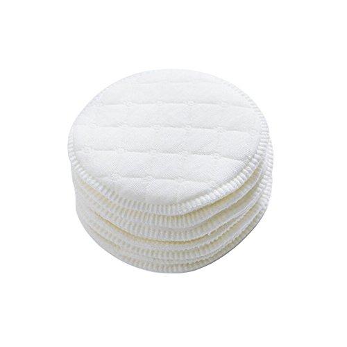12 almohadillas de lactancia blancas de 9 cm de diámetro, suave algodón orgánico, redondas, ecológicas, lavables, reutilizables, para mujeres y mujeres