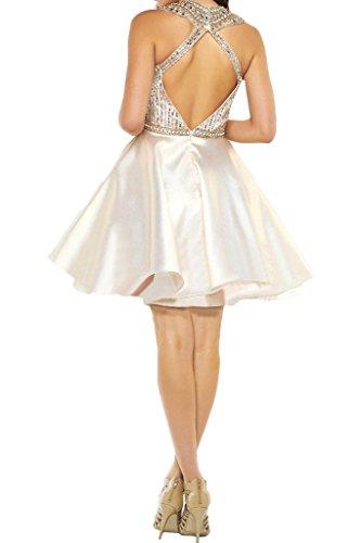 ivyd ressing Damen Zaertlich pietre a della linea Mini Rueckenfrei festa vestito da cocktail Fest vestito abito da sera Avorio