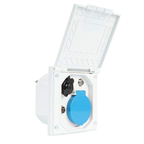 CEE Multi Aussensteckdose 240V | 12V | Antenne | Satellit | IP44 ideal für Wohnwagen, Wohnmobil oder Campingbus (weiß)