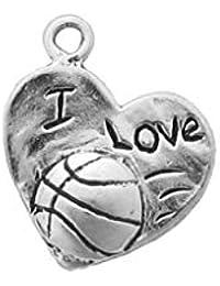 89ce3094a1d Bijoux Professionnels Charme Bijou de Basket-Ball I Love Basketball en  Argent Sterling 925