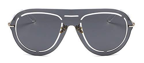 WSKPE Sonnenbrille Randlose Sonnenbrille Aushöhlen Objektiv Sonnenbrille Gold Frame Streuscheibe, Schwarz