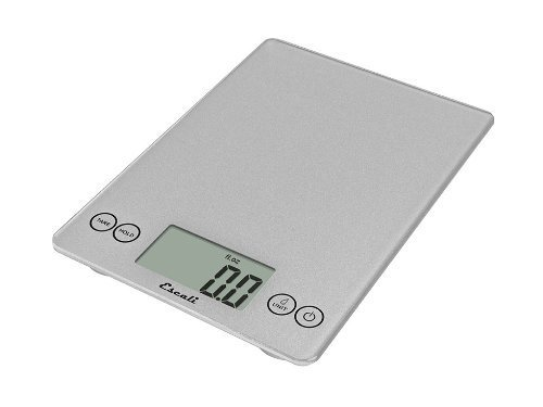 Escali 157SS Arti Digitale Küchenwaage aus Glas, 7 kg, glänzend silberfarben -