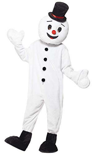 Smiffys, Herren Schneemann Maskottchen Kostüm, Bodysuit, Überschuhe und -