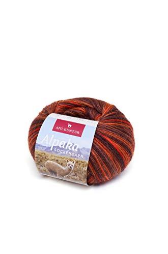 APU KUNTUR Alpaka Socken-Wolle | Strick-Häkel-Garn weich, warm und kratzfrei | einzelnes Knäuel | 200m, Nadel 2,5 | wunderschöne Farben zum angenehmen Stricken und häkeln | Kupfer-orange -