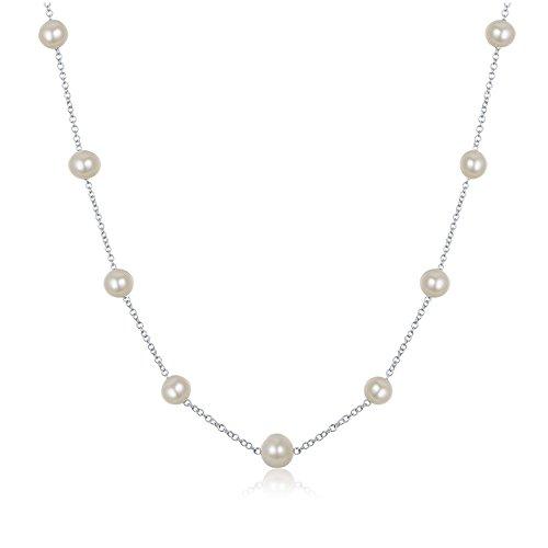 JFUME 7-8MM Collar de perlas de agua dulce Plata esterlina 925 Mujer 450mm
