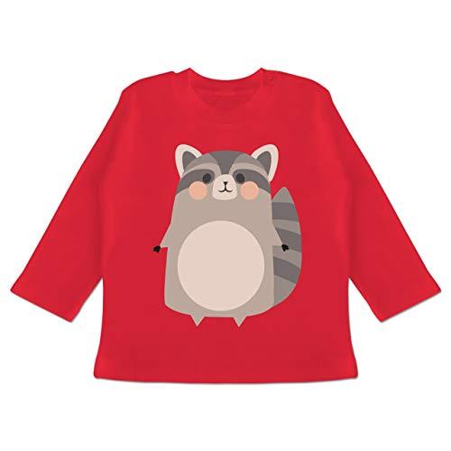 Karneval und Fasching Baby - Kostüm Fasching Waschbär - 6-12 Monate - Rot - BZ11 - Baby T-Shirt ()
