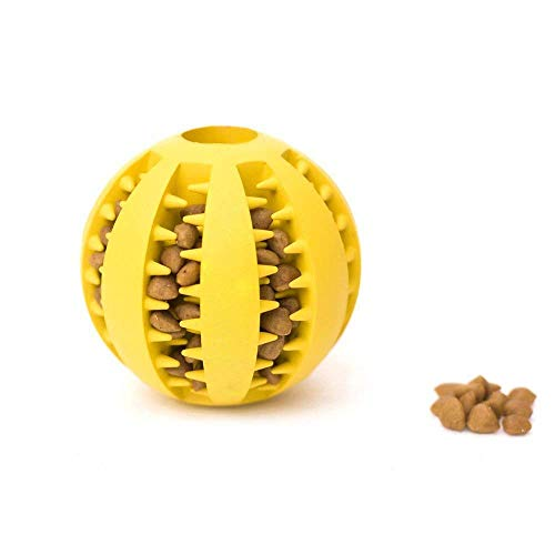 Hundespielzeug Ball & Frisbee von Dlife aus Naturkautschuk | Spielzeug für Hunde | Robuster Natur-Gummi Hundeball für Leckerli | Langlebiger Hundespielball | Auch für Welpen | Kauspielzeug | Spielzeug für Hunde (Gelb) -