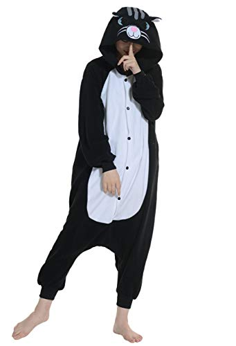 Unisex Kigurumi Jumpsuit Tier Pyjamas Kostüm Fasching Onesie Damen Herren Karneval Cosplay Nachtwäsche, Schwarz ()