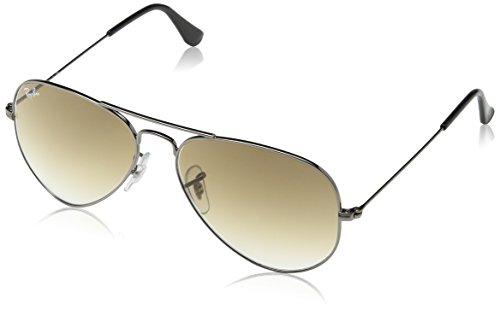 Ray Ban Unisex Sonnenbrille Aviator, Silber (gunmetal 004/51), 55 mm