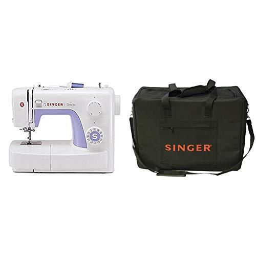 Singer Simple 3232 - Máquina de coser mecánica, 32 puntadas, 120 V, color blanco + Funda para máquina de coser, color negro