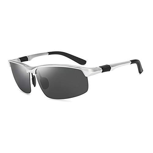Gläser Sport Sonnenbrillen Männer Aluminium Magnesium Polarisierte Sonnenbrillen Angeln Fahren Sonnenbrillen (Color : Silber, Size : Kostenlos)