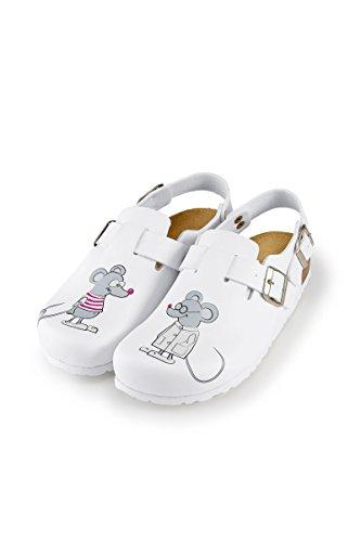 CLINIC DRESS Damen-Clog Weiß Motiv Mäuse weiß, Motiv Mäuse 39