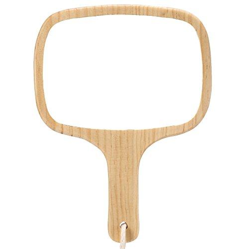 Mirrorlwban professioneller Damen- und Herrenfriseursalon-Handspiegel mit Griff( Aus Holz)(2018 Model) , #4 Ovaler Holz-spiegel