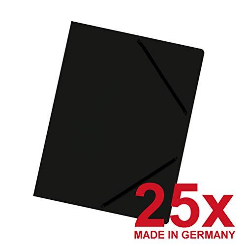 Falken Das Original 25er Pack Premium Einschlagmappe aus extra starkem Colorspan-Karton mit 3 Innenklappen und 2 Gummizügen DIN A4 schwarz Juris-Mappe Sammelmappe für Büro und Schule