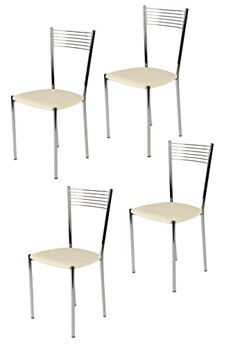 Tommychairs - set 4 sedie moderne e di design elegance per cucina bar salotti e sala da pranzo, con robusta struttura in acciaio cromato e seduta imbottita e rivestita in ecopelle colore avorio