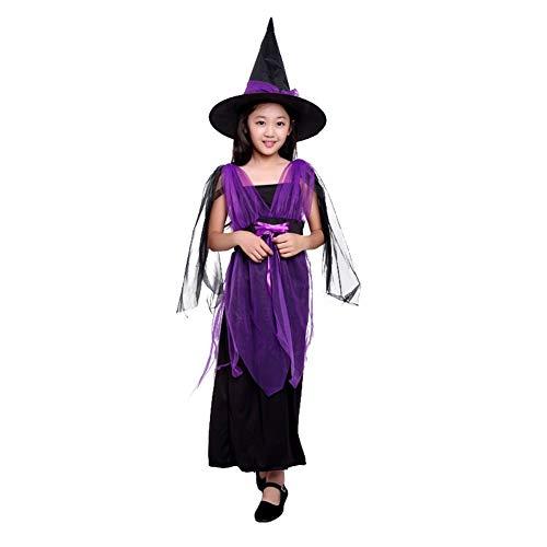Qlan 2 Stück Kinder Mädchen Halloween Fancy Dress Kostüme mit Hexenhut (Party-stadt Halloween-kostüme Für Kinder, Mädchen)