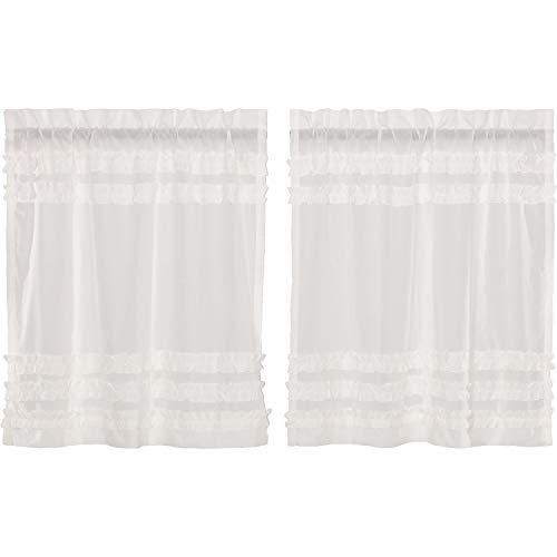 VHC Brands Farmhouse Kitchen Curtains White Petticoat Rod Pocket Cotton Ruched Ruffle Sheer Solid Color 36x36 Tier Pair, Soft -