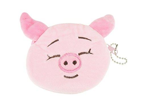 Glamour Girlz Liebenswürdig, weiches Gefühl Plüsch rund Kitty Katze Kätzchen Schwein Kuh Gesicht Coin Geldbörse Schlüssel Kette Geschenk Idee für Mädchen Gr. Einheitsgröße, Pink Nose -