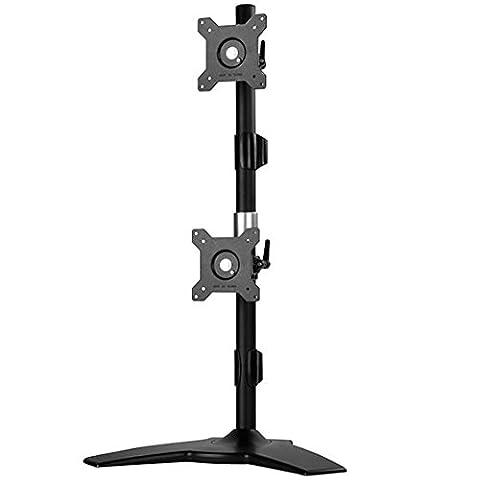 SilverStone SST-ARM24BS - Vertical Twin Double ARM LCD LED support de montage d'écran pour bureau, écrans jusqu'à 24 pouces, s'incline & pivote (Inclinaison ±20°|Pivotement ±20°|Rotation 360°), noir