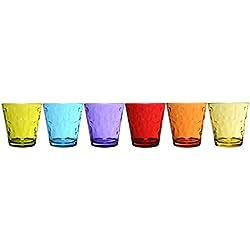 Novastyl–Juego de 6vasos altos (cristal de Contenance, cristal, multicolor, 32.0 x 15,5 x 9.0 cm
