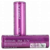 EFEST 3000 mah 35A IMR Batería superior plana de alto drenaje (2 en un paquete) - Estuche incluido para el kit inicial de cigarrillos electrónicos