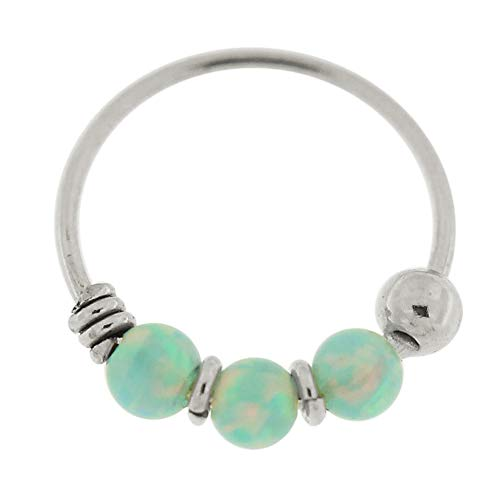 9K Weißgold dreifach hellgrün Opal Bead 22 Gauge Hoop Nase Piercing Ring Schmuck